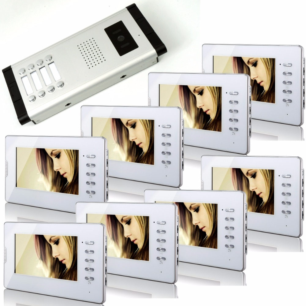 7 Inch Color  LCD  Monitor  Wired Intercom Video Door Phone With 8 Indoor  Monitor