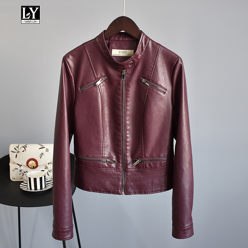 Ly Varey Lin Autumn Women Pu   Leather   Jacket Coats Stand Collar Long Sleeve Faux Soft   Leather   Motorcycle Zipper Slim Outerwear