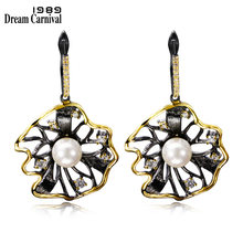 DC1989 Trendy Flower Shape Vintage Earrings For Women Big Dangling Earring Contrast Black Gold Plated Synthetic Cubic Zirconia(China)