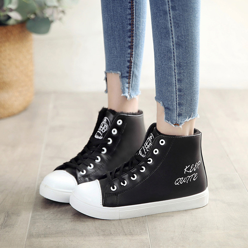 New PU plush fur women ankle boots warm winter causal shoes female fashion waterproof student leather martin boots 2018 NBT1087