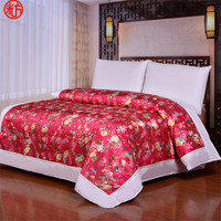 Traditional Chinese style duvet cover 1pc Sateen Fabric quilts cover wedding gift Silk Jacquard bed linen cover red marry gift