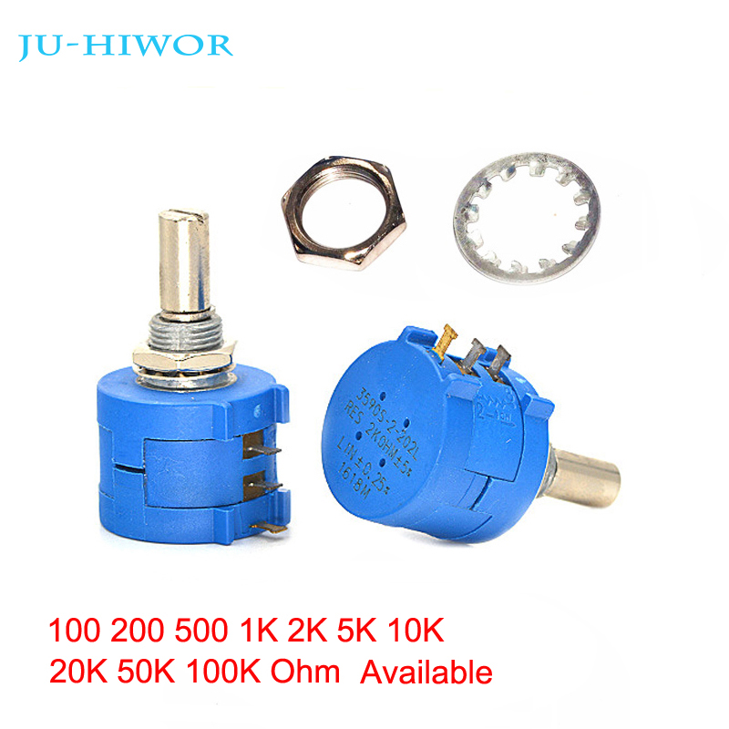 1pcs 3590S-2 Precision Multi-turn Potentiometer Trimmer Adjustable Resistance 100 200 500 1K 2K 5K 10K 20K 50K 100K Ohms