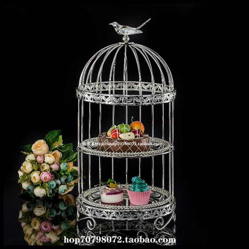1 PCS Alloy double layer bird cage snack stand multi layer cake plate wedding birthday bar dessert set tea break