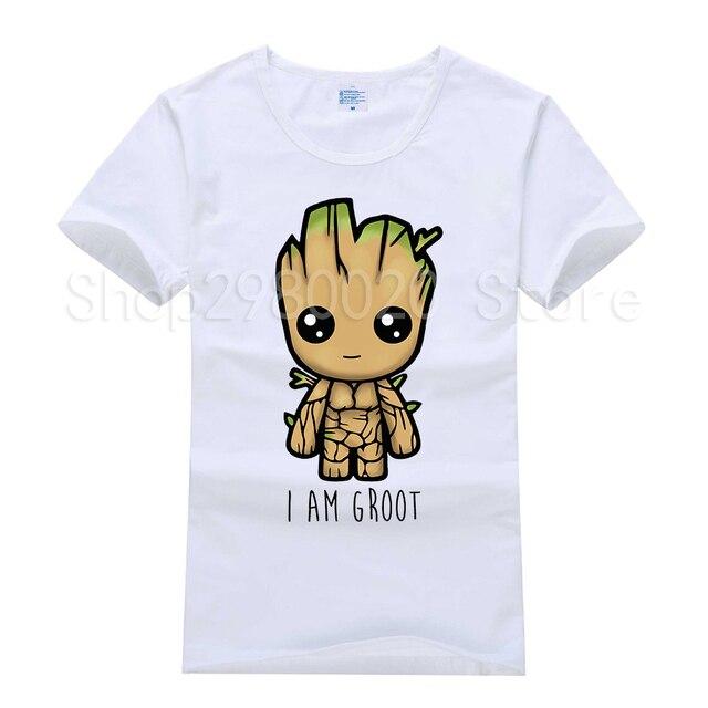 2018 nueva camiseta Guardians of the Galaxy T 2 camiseta hombres Anime pop groot Verano Divertido I AM GROOT Camiseta Hombre Cool Tops camisetas Homme