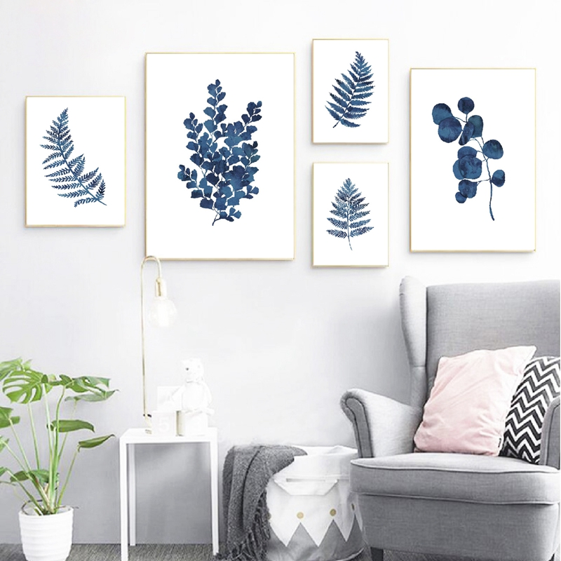 Ink Blue Fern Prints Watercolor Indigo Leaf Botanical Art Canvas Posters , Ink Blue Eucalyptus Foliage Painting Home Wall Decor