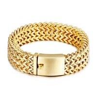 Le nouveau titanium bracelet en acier simple mode généreux de galvanoplastie full or hommes bijoux en acier inoxydable