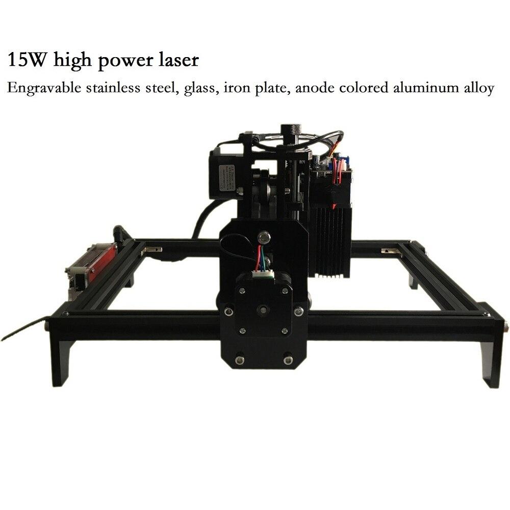15 W Máquina de Gravura do CNC com 15000 mw Cabeça Do Laser Máquina de Escultura Em Madeira Router Madeira PCB Fresadora De Metal De Vidro DIY de Mini CNC