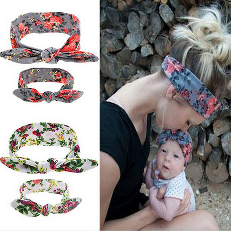 TWDVS Kids and Mother Paternity Style Hair Accessories pointing Knot Flower Hair Elastic Bands Ring Headband W215  twdvs flower girls bow knot headband girls flower head bands hair accessories 2017 hair bands style hot sell headwearw077