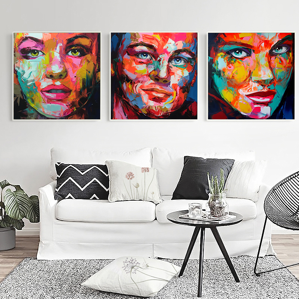 Abstract Famous Actress Knife painting Print Wall art Canvas painting Unframed Square Wall picture large Poster and prints image