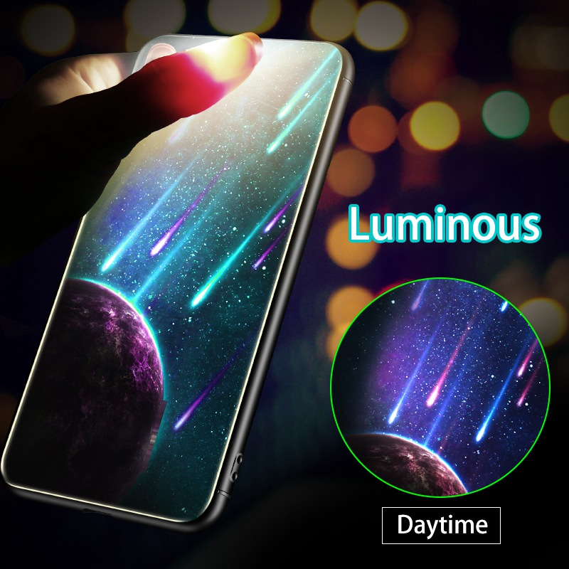 <font><b>Luminous</b></font> Glass Cover <font><b>Case</b></font> For <font><b>iPhone</b></font> X XR XS MAX 8 7 Plus Coque Luxury Starry 9H Phone <font><b>Case</b></font> For <font><b>iPhone</b></font> <font><b>6</b></font> 6S Plus 5 5S SE Cover image