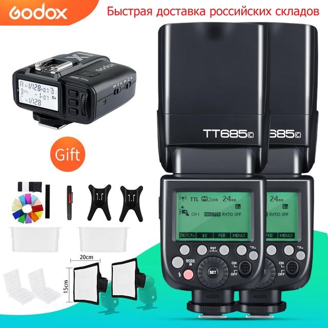 Godox 2 PCS TT685C TT685N TT685S TT685F TT685O 1/8000 s HSS TTL פלאש Speedlite עם X1T הדק עבור canon Nikon Sony Fuji אולימפוס