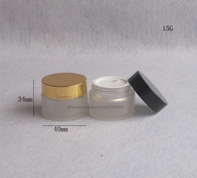 500 X 15g frosted glass jars 15ml frost cream jars skin care cream