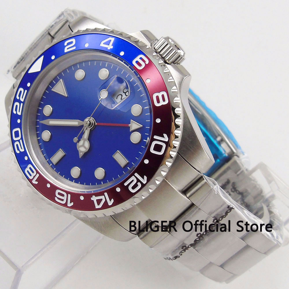 Fashion Sapphire Crystal Nologo 40MM Mens Watch GMT Function Red Blue Bezel Automatic Movement Wrist WatchFashion Sapphire Crystal Nologo 40MM Mens Watch GMT Function Red Blue Bezel Automatic Movement Wrist Watch