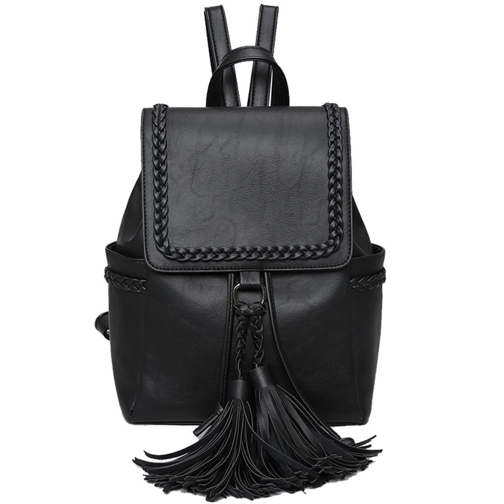 menhuo new 2017 tassel women leather backpack teenage knit. Black Bedroom Furniture Sets. Home Design Ideas
