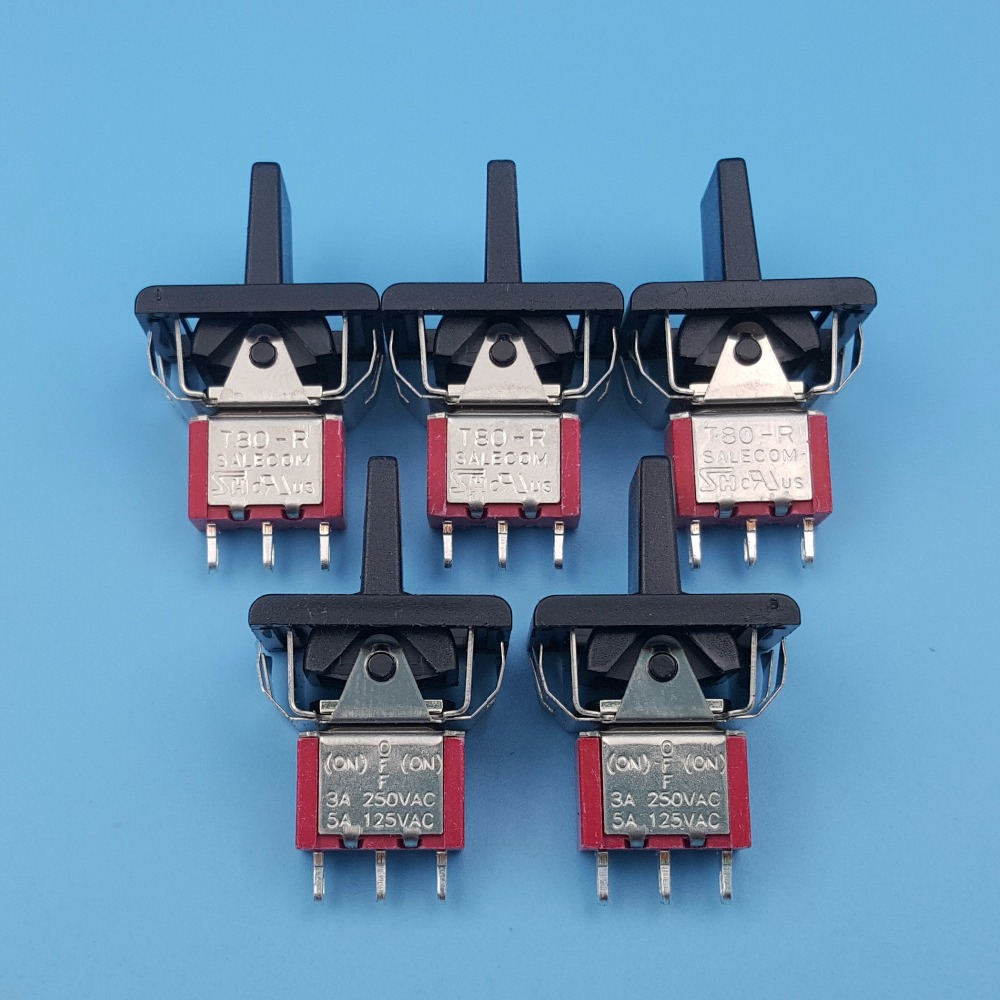 5Pcs SH P8016A-P14 Momentary 3Pin (ON)-OFF-(ON) 3Position Mini Paddle Toggle Switch 3A/250VAC цена