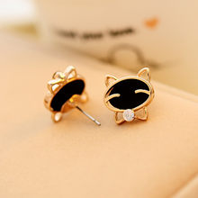 1Pair earrings for women Black Smile Cat High-Grade Fine Diamond Stud Earrings hot sale(China)