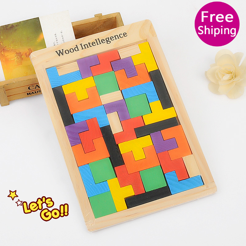 Hot  Sell Colorful Wooden Tangram Brain Teaser Puzzle Toys Tetris Game  Intellectual Educational  Toy Gift for Kids Children metal puzzle iq mind brain game teaser square educational toy gift for children adult kid game toy