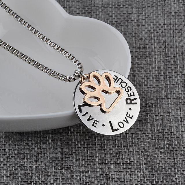 LIVE LOVE RESCUE DOG PAW NECKLACE 2