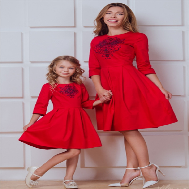 20fbe444de5542 CANIS Autumn Family Mom Mother And Daughter Dresses Matching Womens ...
