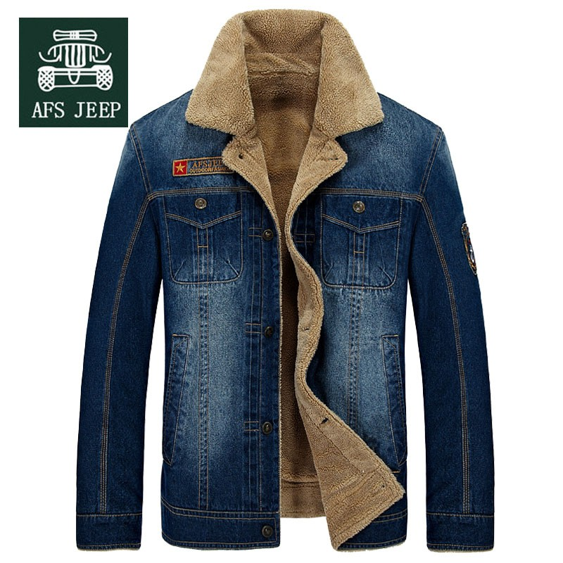 M~4XL New Retro Warm Denim Jackets Mens Jeans Coats Winter Jackets Brand AFS JEEP Thicken Denim Coat Men Outwear Male Asian Size (1)