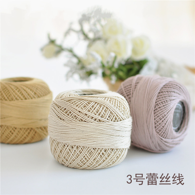 50g/ball 3# Dyeing 100%Cotton Lace Yarn Baby Cup Mat Cotton ThreadSoft and smooth Cool perspiration