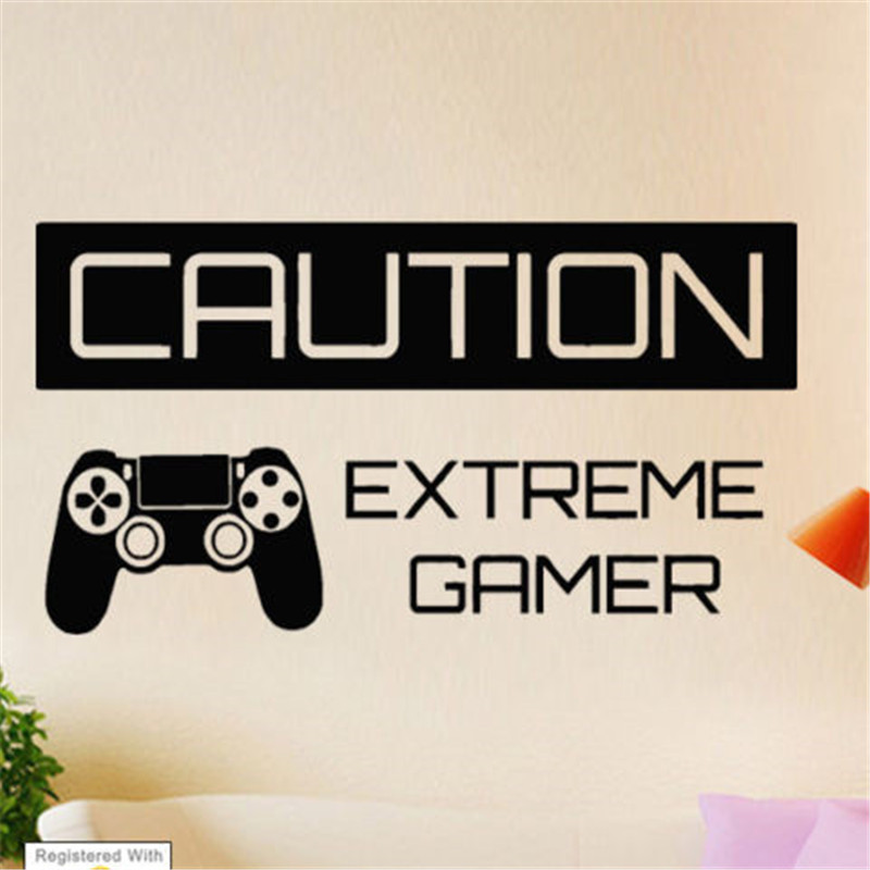 G348 Caution Extreme Gamer Boy Wall Art Stickers Decals Vinyl Home Room Boy bedroom game wall sticker
