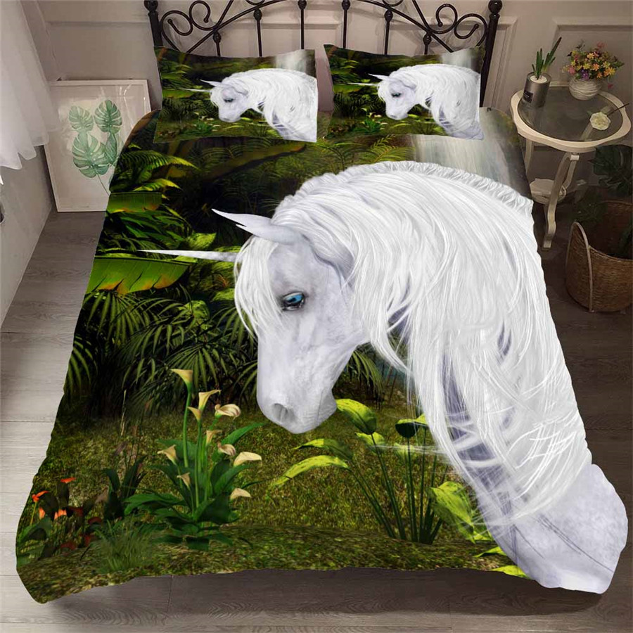HELENGILI 3D Bedding Set Unicorn Print Duvet Cover Set Bedcloth With Pillowcase Bed Set Home Textiles #DJS-55