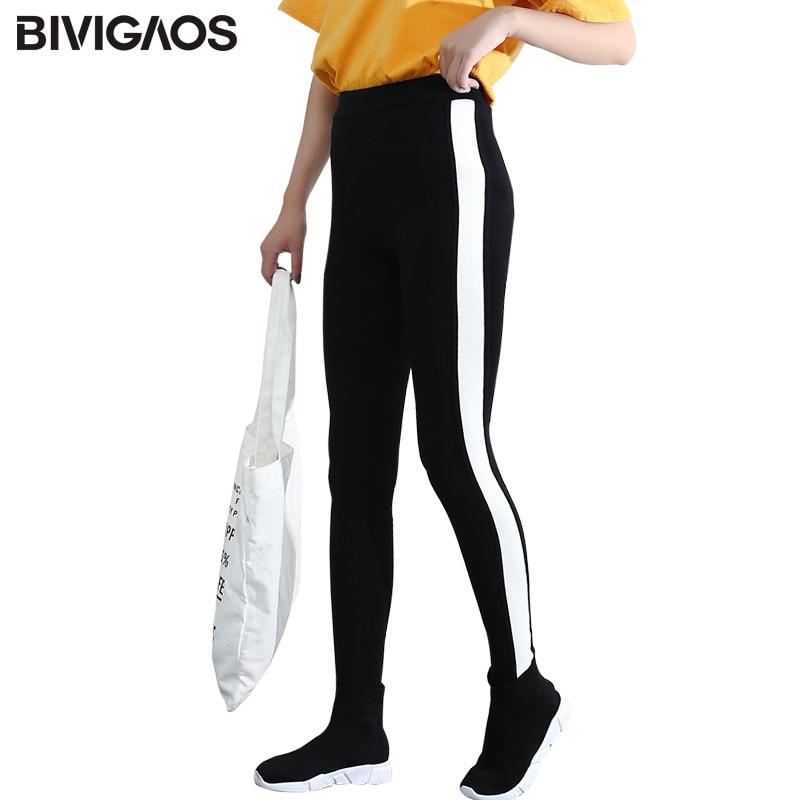 BIVIGAOS Autumn Winter Black White Side Stripes Contrast Color Thicken Cotton Warm Leggings Female workout Leggings Pants Women