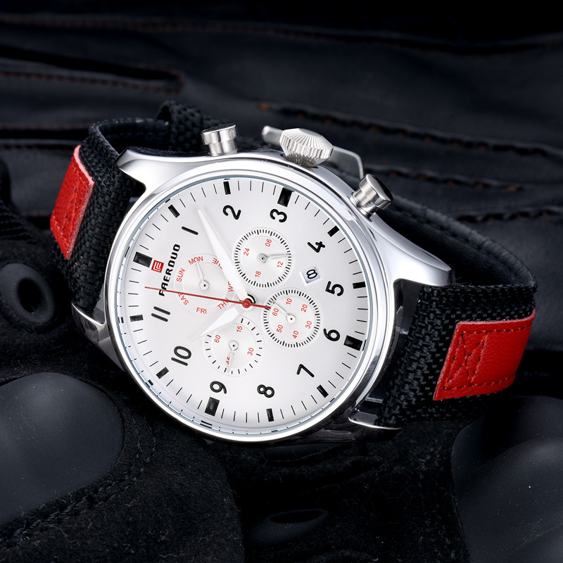 Retro Men Watch High quality Leather Strap Quartz Water Resistant Business Wristwatch Chronograph Sports Clock Relogio masculino in Quartz Watches from Watches