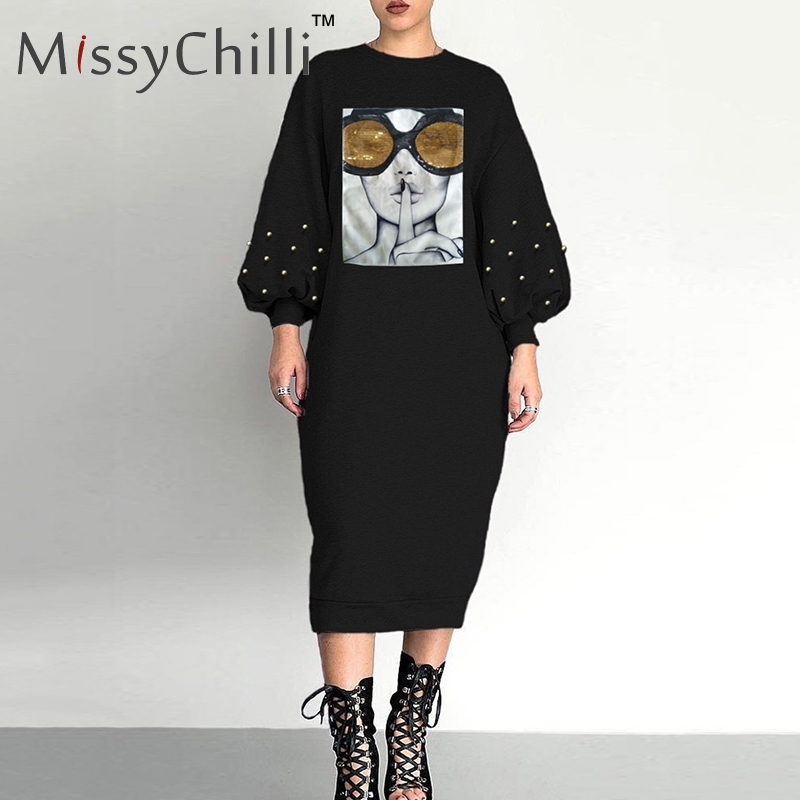 MissyChilli Black sexy rivet sequins loose dress Women face print lantern sleeve dress Female casual summer beach midi dress newDresses   -