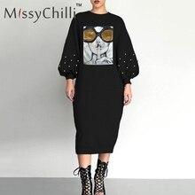 MissyChilli שחור סקסי מסמרת פאייטים loose שמלת נשים פנים פנס הדפסת שרוול שמלת נקבה מקרית קיץ חוף midi שמלה חדש