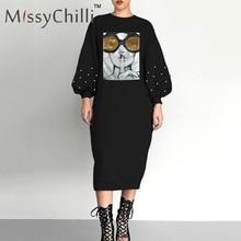 MissyChilli negro sexy remache lentejuelas vestido suelto mujer cara estampado Vestido de manga de linterna mujer casual verano vestido estilo MIDI para la playa nuevo