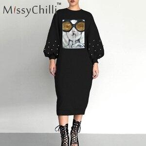 Image 1 - MissyChilli negro sexy remache lentejuelas vestido suelto mujer cara estampado Vestido de manga de linterna mujer casual verano vestido estilo MIDI para la playa nuevo