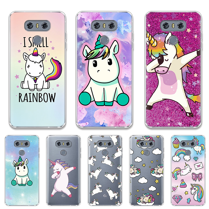 Unicorn Printed Pattern Case For <font><b>LG</b></font> G8 ThinQ G4 G5 G6 K4 K8 K10 2017 <font><b>K11</b></font> Plus Nexus 5X Q7 V20 V30 X Power 2 Clear Silicone Cover image