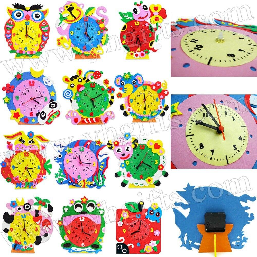 Arts and craft kits - 12 Design Lot Diy Foam Clock Craft Kits Art Cartoon Clock Kindergarten