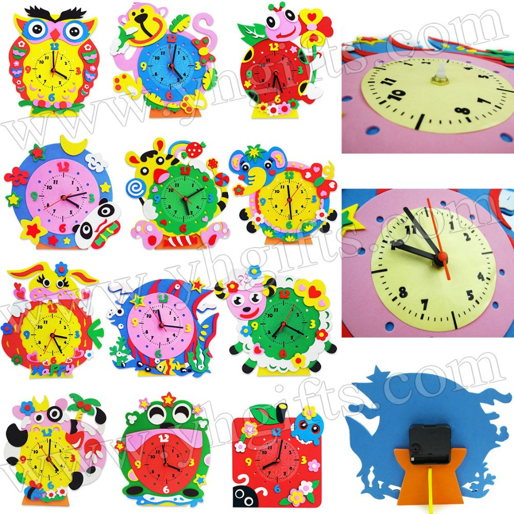 Childrens arts and crafts supplies - 12 Design Lot Diy Foam Clock Craft Kits Art Cartoon Clock Kindergarten