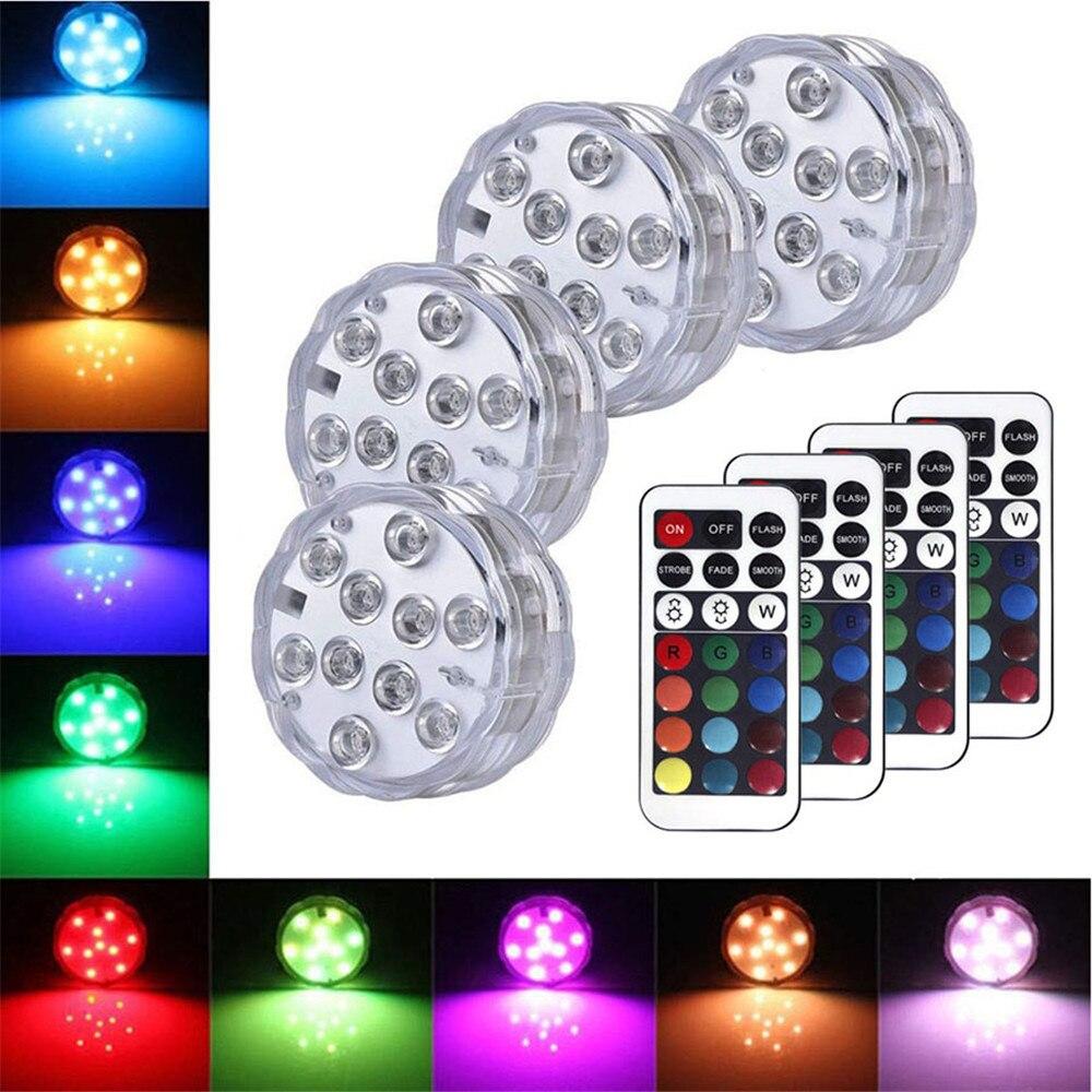 Luces LED sumergibles, impermeables al agua, a pilas, Control remoto inalámbrico, multicolor, 10 LED RGB, bañera, piscina