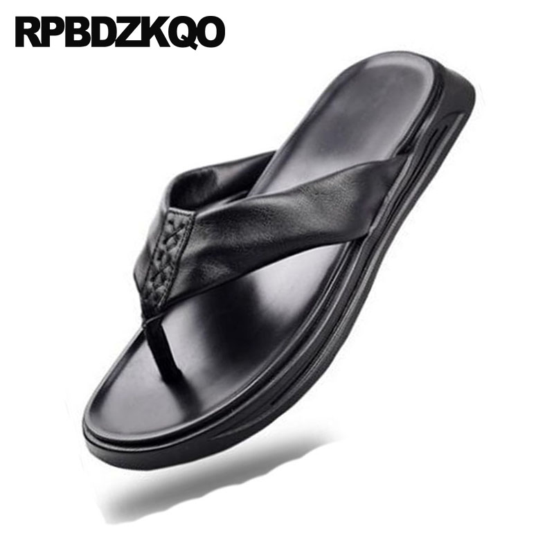 Cuero Chanclas Diapositivas Ponerse Impermeable Moda Negro Agua Aire Diseñador Zapatillas Verano Libre Hombre Zapatos Sandalias Casual Suave Al BU6xT6