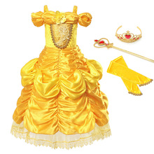 Girls Belle Dress Beauty and The Beast Child Cosplay Costume Ruched Ball Gown Kids Halloween Birthday Princess Fantasy Dresses