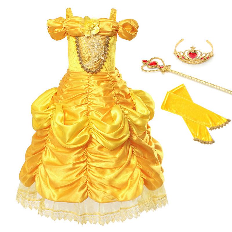 Girls Belle Dress Beauty and The Beast Child Cosplay Costume Ruched Ball Gown Kids Halloween Birthday Princess Fantasy Dresses glittery girls tutu dress elsa belle princess dress girls party dresses pageant gowns baby kids cos beauty and the beast costume