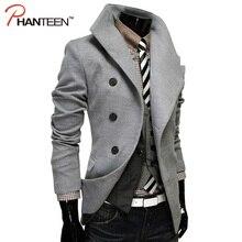 Phanteen отложным Воротником Человек Шерстяные Пальто Однобортный Kint Англии Стиль Куртки Случайный Верхняя Одежда Мода Мужская Одежда