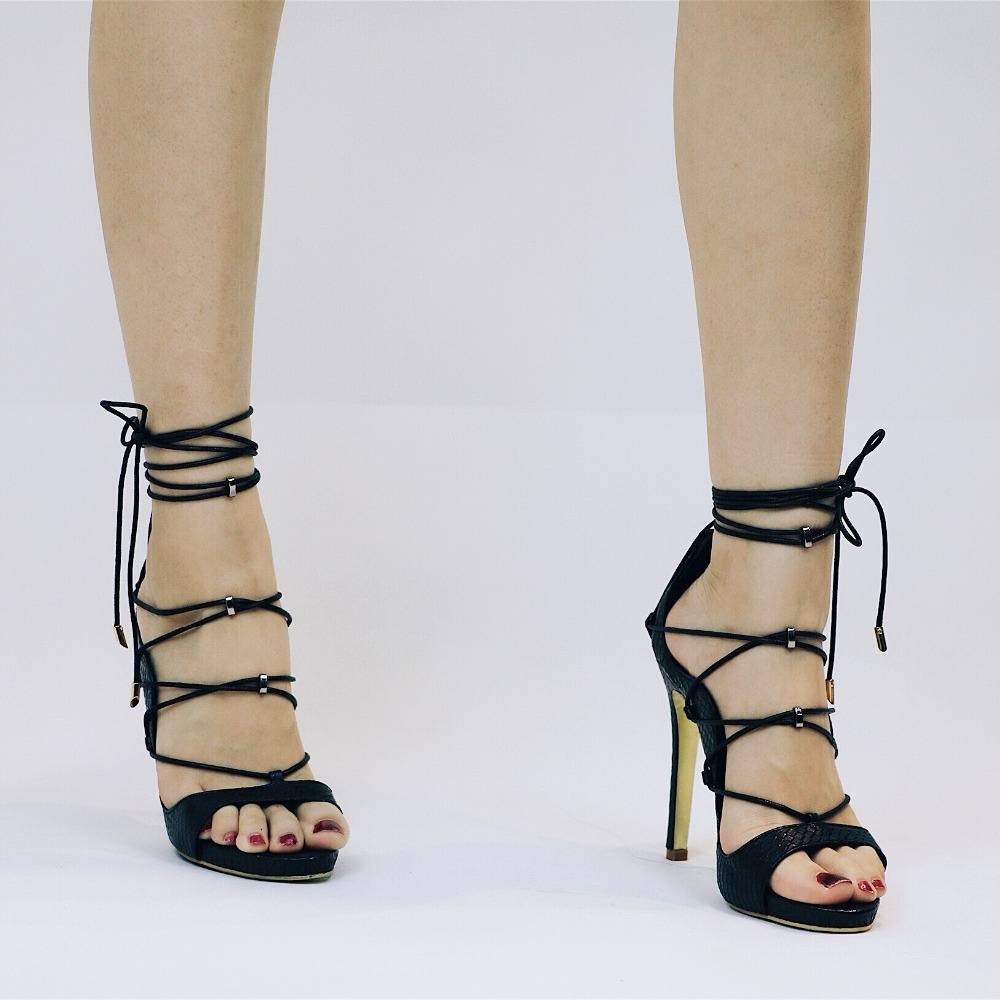 Hot Seller Gladiator Woman Gold Sandals Summer Cross Lace Up High Heels Platform Peep Toe Lady Shoes Real Leather Customised dijigirls women pumps peep toe high heels gladiator sandals shoes woman party wedding flock leather stiletto lace up summer boot