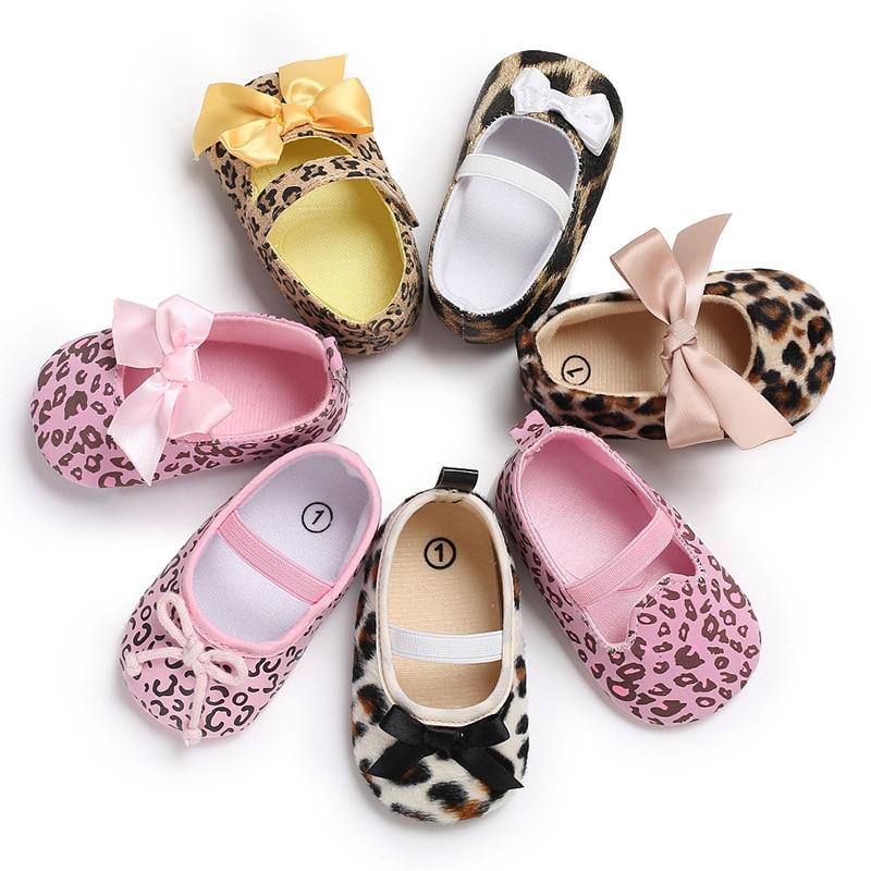 Autumn 2019 Toddler Baby Girls Shoes Floral Leopard Print Tie Soft Bottom Newborn Anti-slip Baby Shoes