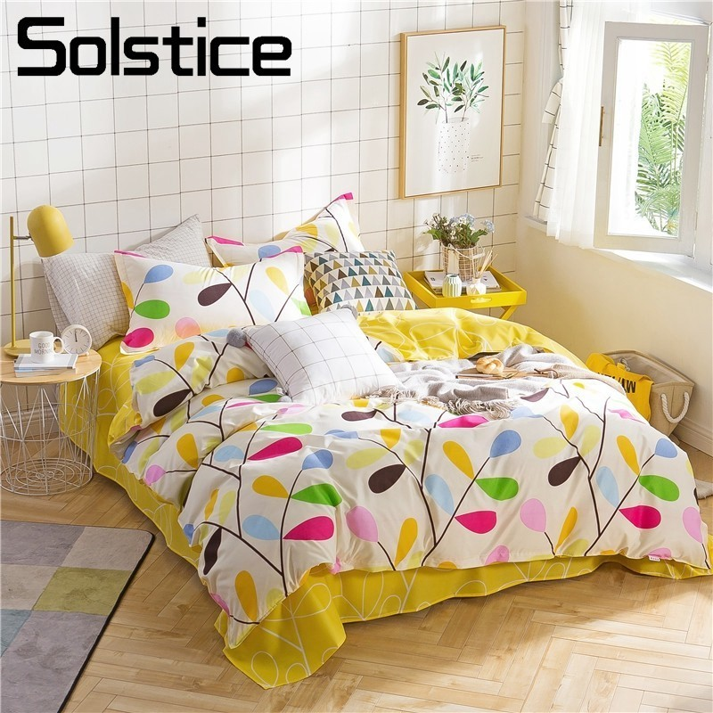 Solstice Home Textile Colorful Bedding Set Girl Vitality Yellow Abstract Branch Linen Duvet Cover Pillowcase Bed Sheet Twin KingSolstice Home Textile Colorful Bedding Set Girl Vitality Yellow Abstract Branch Linen Duvet Cover Pillowcase Bed Sheet Twin King