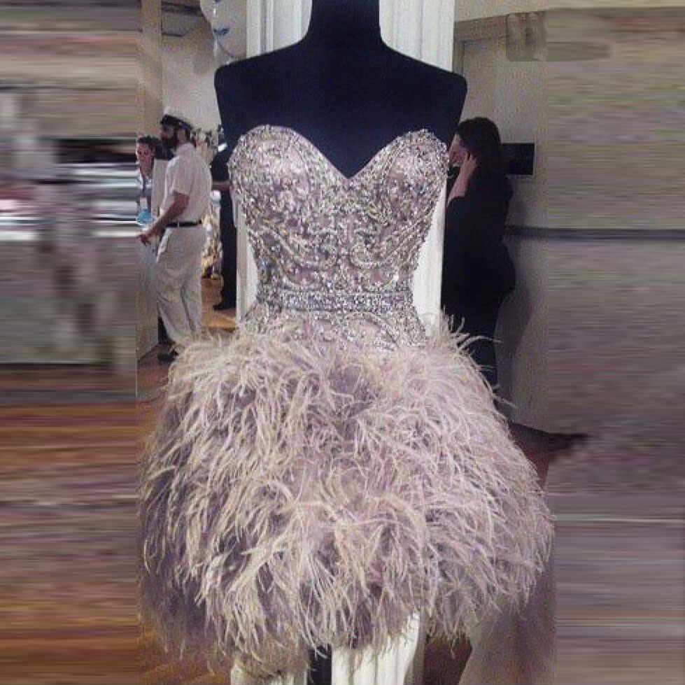 Gorgeous Evening Dress Robe De Soiree Evening Gown Vestido De Festa Short Formal Dresses Heather Feather Prom Gowns Full Sleeves