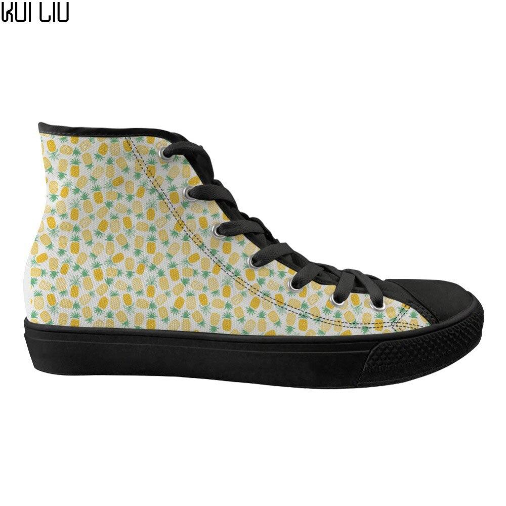 Chaussures plates pour femmes personnalisées mode ananas Design classique haut toile femmes chaussures femme baskets à lacets pour les filles