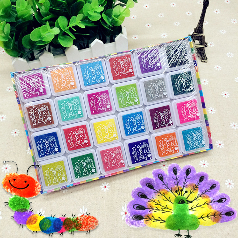 24 Color Multi-Color Ink Pads Children Fingerprint Picture Finger Painting Stamp Pads Pi ...
