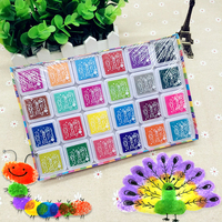 24 Color Multi Color Ink Pads Children Fingerprint Picture Finger Painting Stamp Pads Pigment Kids Craft