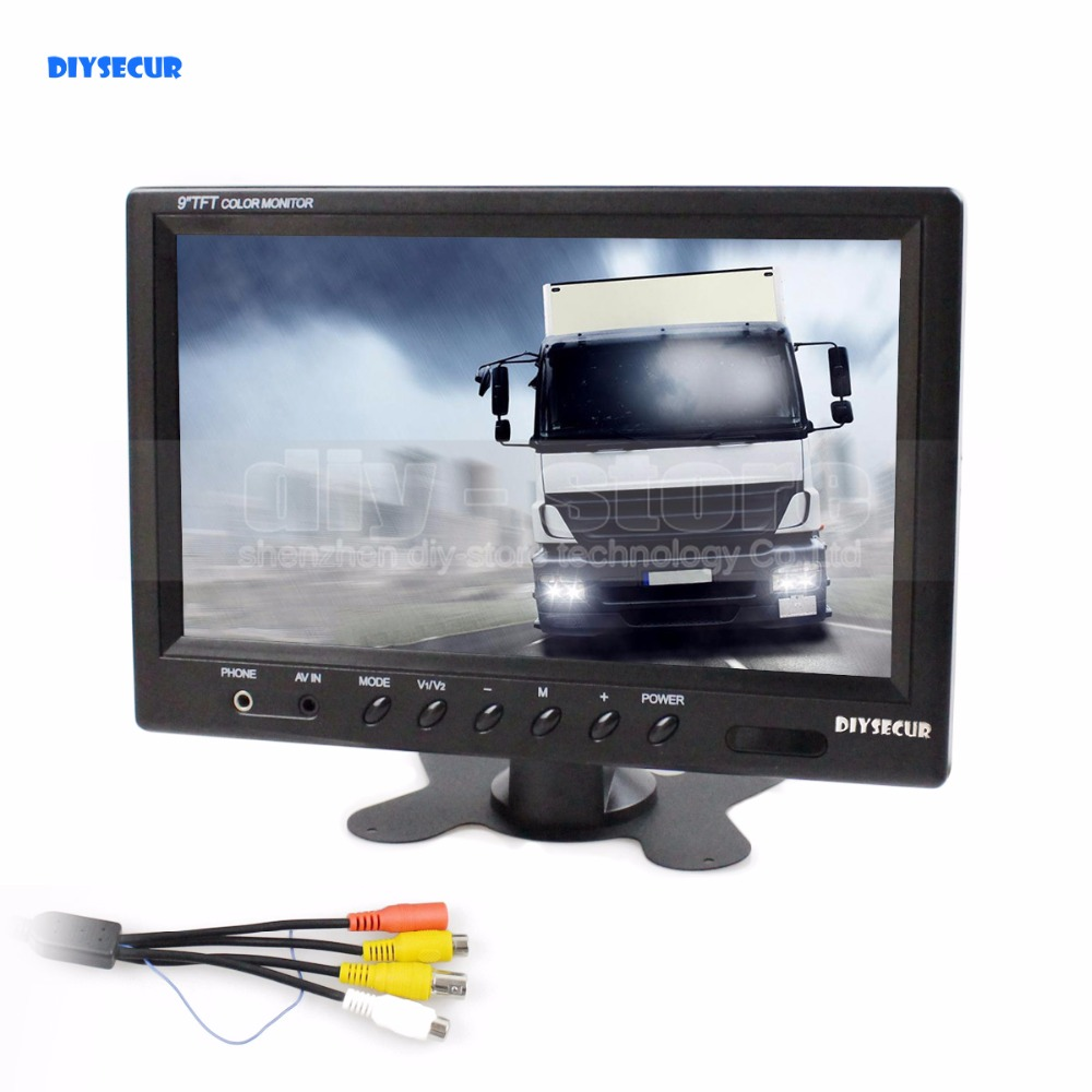 DIYSECUR 9 inch TFT LCD Monitor Display Rear View Monitor Screen with BNC / AV Input Remote Control DVD VCR Monitoring System diysecur 4pin dc12v 24v 7 inch 4 split quad lcd screen display rear view video security monitor for car truck bus cctv camera