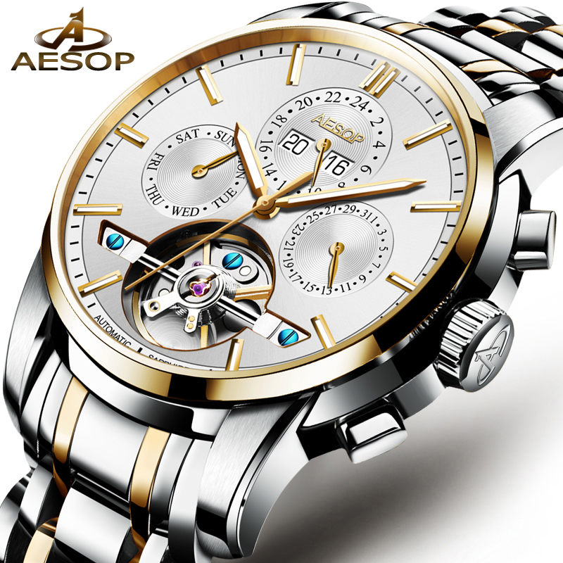 AESOP Fashion Men Watch Men Automatic Mechanical Wristwatch Gold Stainless Steel Male Clock Waterproof Relogio Masculino Box 27 fashion top brand watch men automatic mechanical wristwatch stainless steel waterproof luminous male clock relogio masculino 46